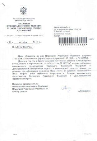Ответ приемной Президента на 10.10.2018